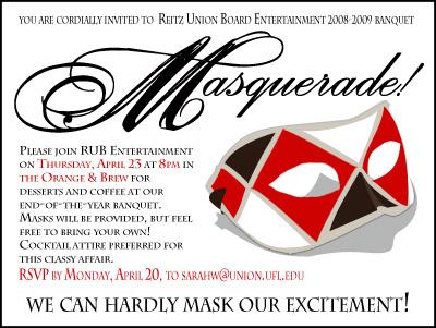 Masquerade Banquet Invitation